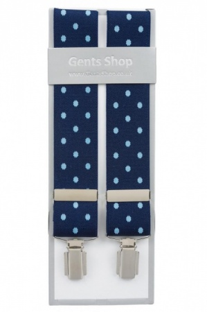 Blue Trouser Braces with Large Light Blue Polka Dot Design - Available In 3 Sizes